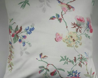 """Shabby Chic Cushion Cover in Cath Kidston Birds and Roses White 14"""" 16"""" 18"""" 20"""""""