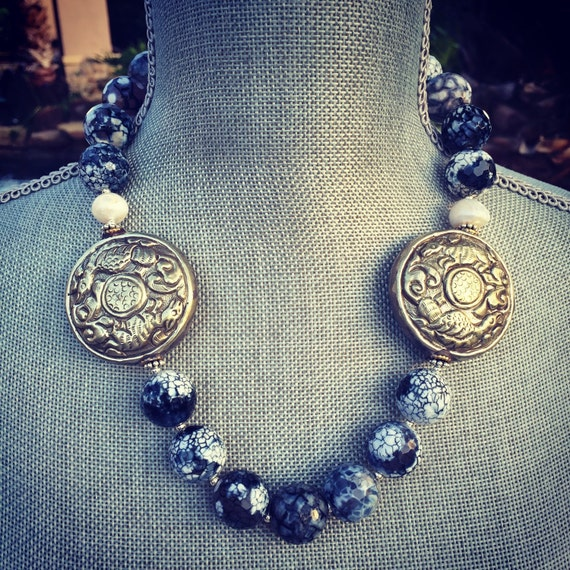 Firecrackle Agate and Nepalese Silver Boho Statement Necklace and Earring Set