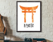 Kyoto, Japan Watercolor Print - Shinto Shrine Torii