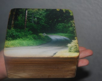wooden photo box, forest path photograph