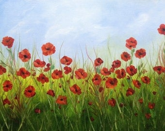 Red Poppy Field  Oil Painting on Box Canvas 16 x 12 inches