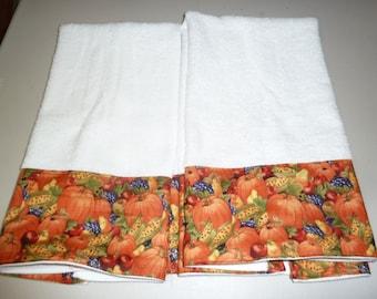 Pumpkin Harvest Decorative Hand Towels (Set of 2)  for Kitchen, Bath or Powder Room