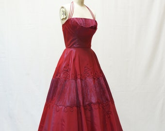 Duo Chrome Cherry Red and Purple 50s A Line Dress XS