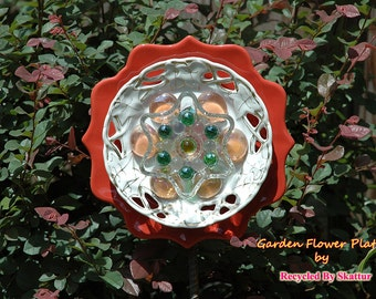 Glass Yard Art Orange Blossom Garden Flower Plate Sculpture for Outdoor Decor