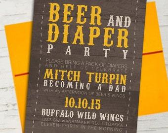 Mustard Yellow Rustic Beer & Diaper Party Invitation