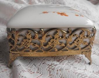 Footed Ormolu Box - porcelain insert