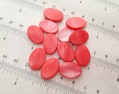 SALE _12pcs-19x13mm orange salmon pink mother of pearl, oval beads, earrings beads, drilled hole