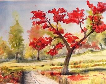"Original Watercolor Landscape Painting ""The Autumn Tree"" Nature Art"