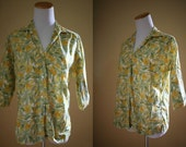 1960's 3/4 Sleeve Floral Top - Vintage 60's Cape Gooseberry Blouse - Medium / Large