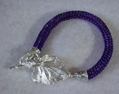 Orchid Purple Viking Knit Hand Woven Wire Bracelet Leaf Clasp