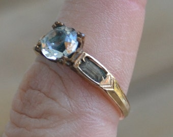 Lovely early antique 14k gold filled white diamond paste edwardian art deco engagement ring / solitaire / wedding / steampunk / SIMOPO