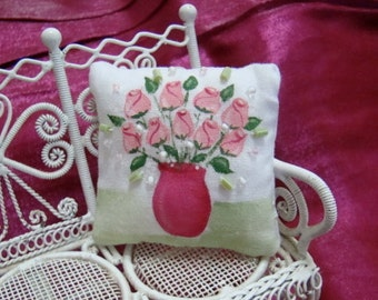 Pink Rosebuds in a Vase miniature dollhouse pillow