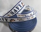 Navy Ribbon, Anchors Away Ribbon, Anchor Ribbon, nautical crafts, Nautical Ribbon, grosgrain ribbon, 7/8 Inch Ribbon, RN14760