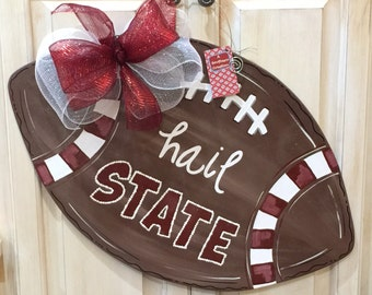 Wooden Hail State Football Door Hanger