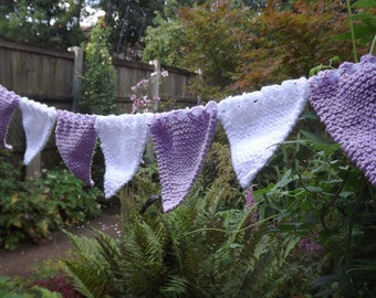 knitted bunting, white and lavender