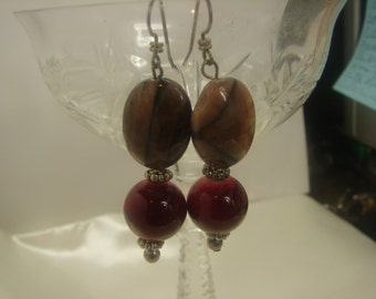Natural Amathyst & Red Glass Earrings in Sterling -Artisan- 17 grms, Dangle 55mm fm hole 1300