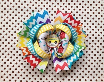 Ready To Ship Hairbow! Colorful Rainbow Schoolgirl Hairbow, Back To School Hairbow, Chevron Boutique Hairbow, Girls Hairbow
