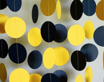 Yellow and Navy Paper Garland, Yellow / Navy Wedding Decor, Birthday Decoration, Nautical Party Decor, Baby Shower Decorations, 10 ft. long