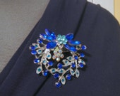 Blue Flower Swag Wreath with Blue Acrylic Rhinestone Pageant Magnetic Sash Pin