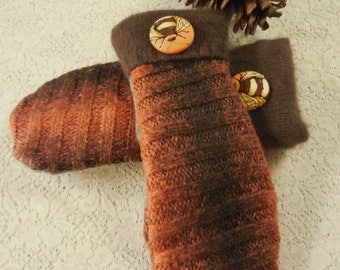 """Felted Wool Mittens Orange Brown with Green Blend """"Bee Themed"""" Mittens  MH18"""