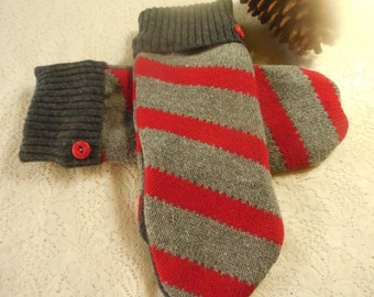 Felted Wool Mittens Unisex Adults Gray Bright Red Stripe Design  MH33