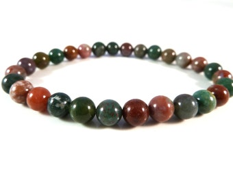 Fancy Jasper Stretch Bracelet 6mm Smooth Round Gemstone Beads Indian Agate