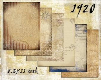 Digital Paper Pack 1920s 8.5x11, downloadable printables