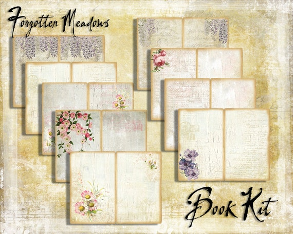 Digital Paper Pack Forgotten Meadows Book Kit downloadable printables