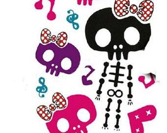 1pc skull patterns temporary tattoo sticker-8570B