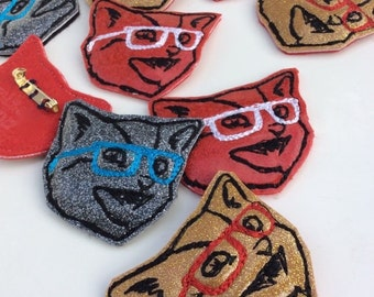 Kitty Brooch   Embroidered Pin   Cat with Glasses   Gift for Cat Lady   Cat Brooch   Glitter Kitty   Cat Lover Gift    Cat Pin