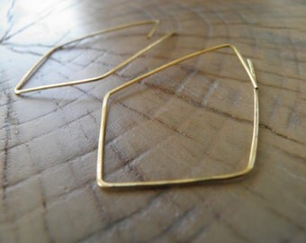 "Hoop Earrings...""Angles"" handmade and hammered brass or sterling silver wire earrings."