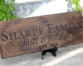 Personalized Family Name Sign Plaque Custom Made 8x22 engraved Family sign, wedding or anniversary gift 010