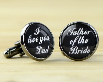 Custom Cuff Links, Personalized Father of the Bride Wedding Cuff Links, Wedding cufflinks, Groom cuff links, bestman cuff links-016