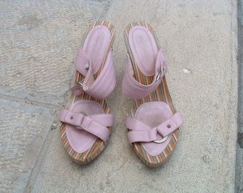 FORNARINA sandals leather pre-owned made in Italy circa 1993's size 35
