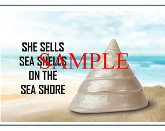 She Sells Sea Shells - Instant Download Digital Art Print
