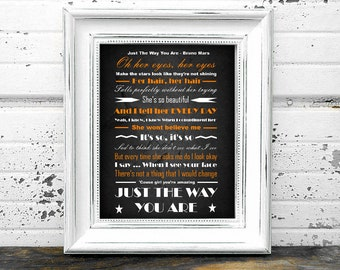 Just The Way You Are Lyrics - Bruno Mars - Instant Download Digital Typography Print