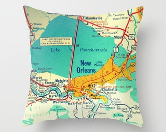Louisiana Pillow, Any City Map, Custom Louisiana Map Pillow Cover LA, New Orleans, Baton Rouge,  Decorative Pillow Cover Housewarming Gifts