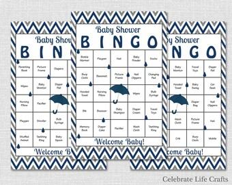 30 Navy Baby Shower Bingo Cards Download - Printable Baby Shower Games - Baby Bingo  - Navy Blue Gray Chevron - Boy N024-N