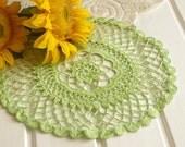 SALE 15% OFF: Green crochet doily Crocheted cotton doily Lace doily Crochet table decorations Lace doilies crochet placemats