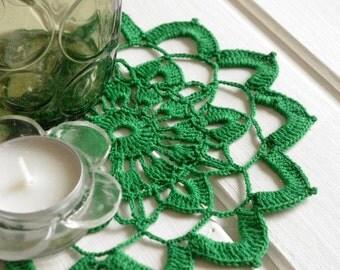 Crochet doily Green lace doily Crochet handmade cotton small doilies Round lace doilies