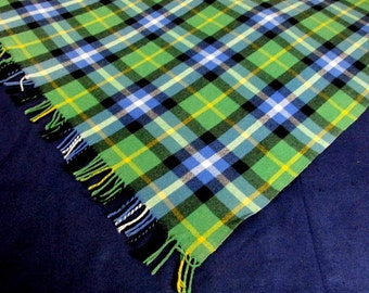 SALE Vintage Plaid Wool Blanket Scarf With Fringe Green Blue Yellow White 53 x 58