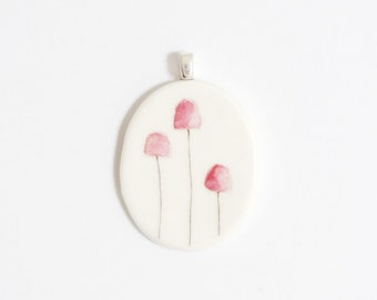 Fungi porcelain pendant handmade