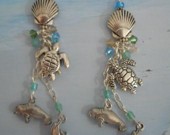 Beach Friends manatee sea turtle, dolphin shell crystal drop charm earrings