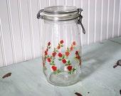 Vintage Rose Patterned French Arc Glass Canister Canning Jar Storage Organization