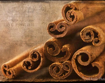 Cinnamon Sticks, Photography, Food Photography, Kitchen Art, Wall Art