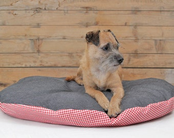 Canvas & Checkers Round Dog Bed Cover / Designer Pet Bed