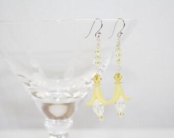 Yellow Flower Dangle Earrings Wedding Earrings Vintage Elements Earrings Sunny Spring Earrings