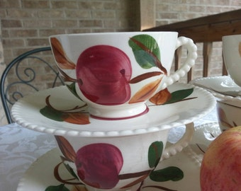 Delightful Southern Potteries Apple Cups Saucers and Plates Set of 9 Pieces