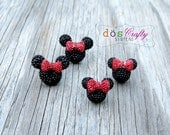 Medium Large Black Minnie Mouse Disney Inspired Rhinestone Silver Post Earrings