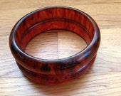Bakelite - Set of Two Root-beer Tortoise Bangle Bracelets / Tested